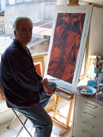 """Blair painting in his Vallauris, France studio, near Cannes""."